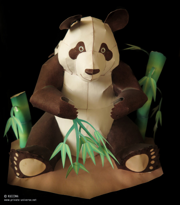 Panda with cubs papercraft