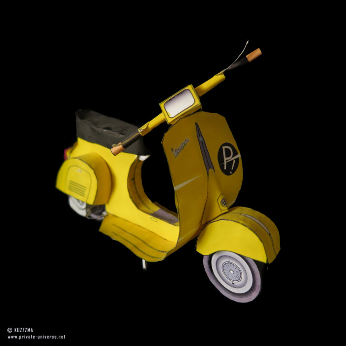 07.01.2015 FLCL Yellow Vespa bike papercraft